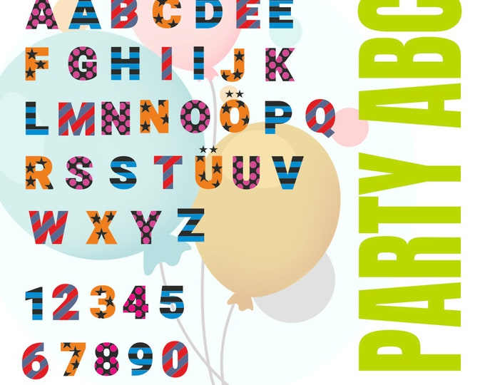 PARTY ABC with A to Z and 1 - 10 MIXED letters