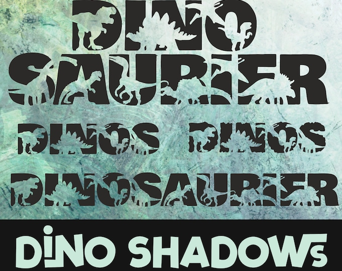DINO Dinosauerier 4 Shadows incl. Trash and Splash, as SVG DXF plot file plotter file and png for printing