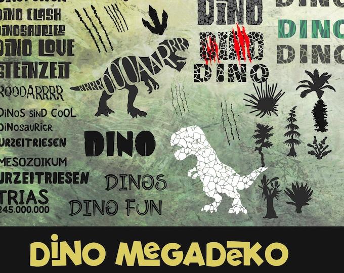 Dino Power Dinosaur Mega Decoration Over 20 Elements & Bonus Trash and Splash, as SVG DXF Plot file plotter file and png to print