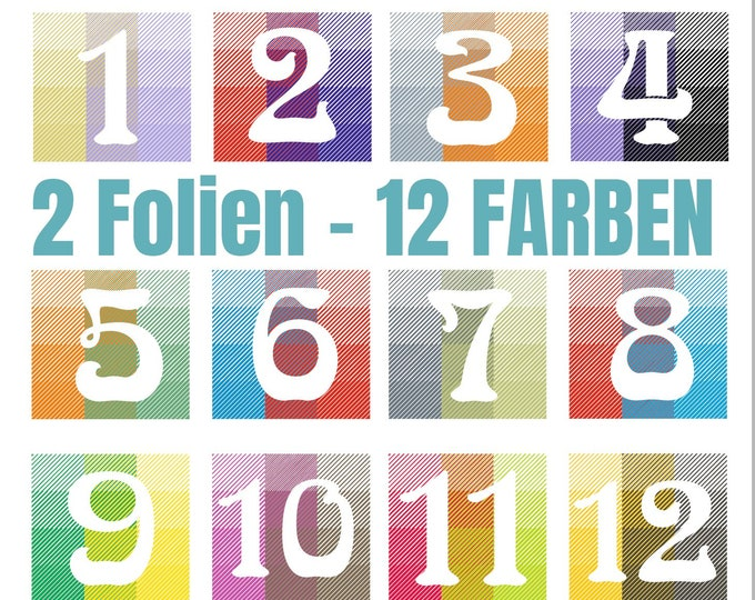 12 COLORS - NUMBERS 1 to 12 - 12 colors with only 2 foils - without template