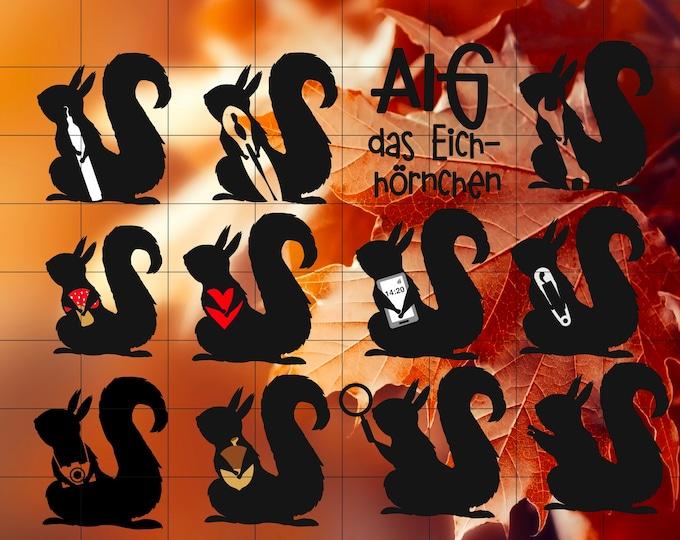 AIG - the squirrel 11 motifs as a set