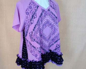 Refashioned Tee Light Purple Boho Upcycled Tunic Top Altered Couture Recycled Women 3X TOPS5-06