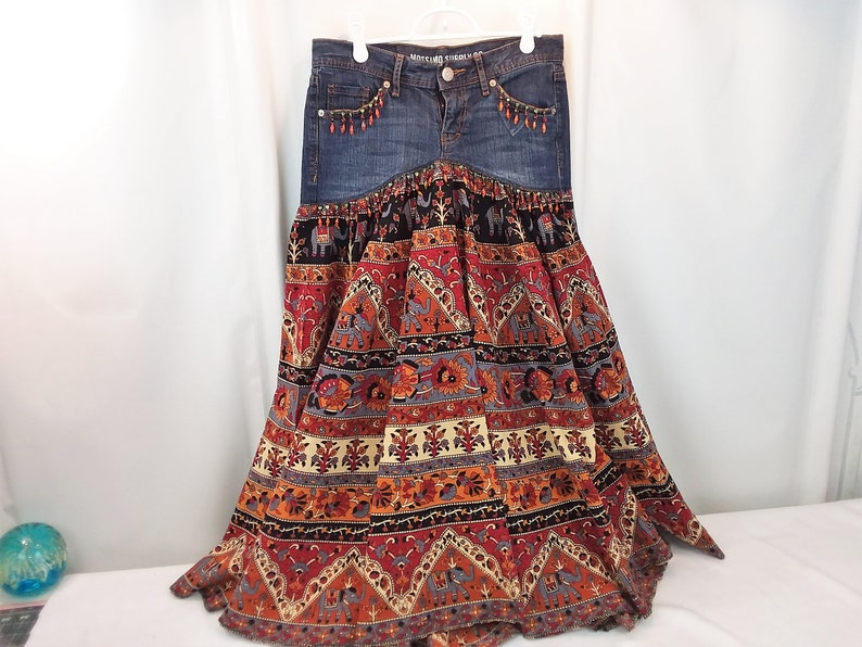 ac205058f4 Upcycled Jeans Skirt Festival Skirt Recycled Refashion Altered   Etsy