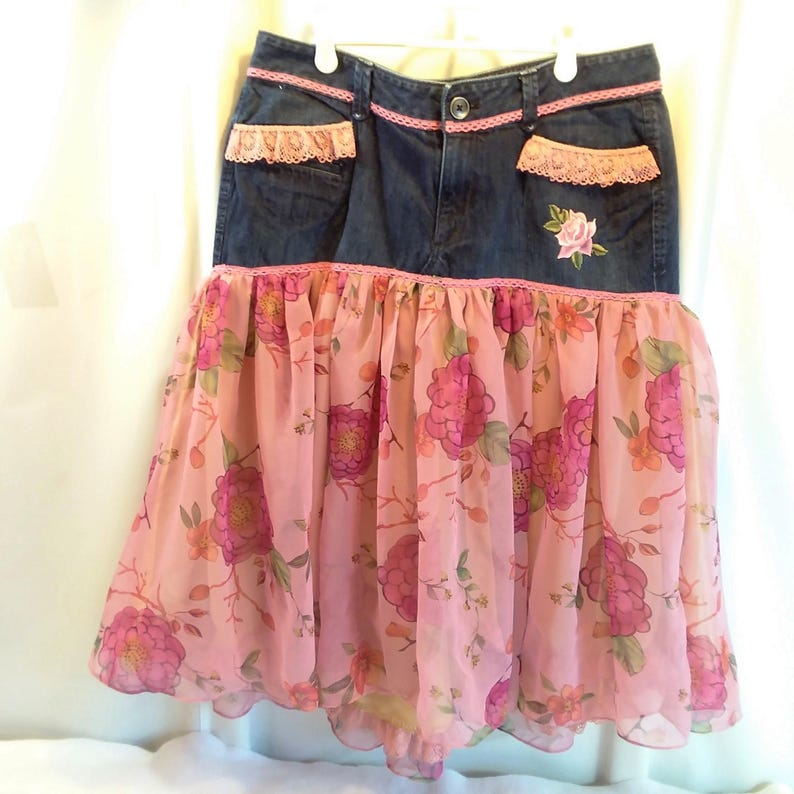 b784f682de Upcycled Recycled Skirt Denim Jeans to Skirt Refashion Altered   Etsy