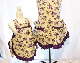 Aprons Mommy and Me Plus Size Long Cobbler Apron Set Full Coverage Baking Aprons Handmade Fully Lined-Sweet Pansies- Apron Set-24