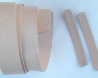Strip of leather, 4 cm wide and 125 cm long, vegetable tanned