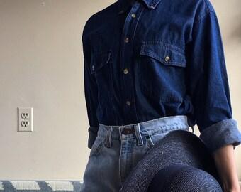 Vintage Denim Shirt | Jean Button-Down | Dark Wash Denim Top