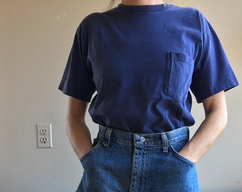 Vintage GAP T-Shirt | Faded Blue Shirt  | Boxy Pocket Tee