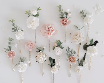 Hair pins clay eucalyptus bridal hair pin set marsala wedding wedding hair pin marsala roses realistic sprig flower bridal flower pin