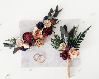Wedding accessories flower crown comb wrist corsage by