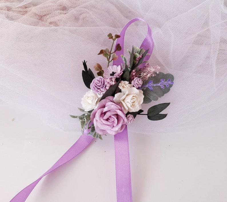 Lilac purple Bridesmaids corsage White  lavender  Flower wrist corsage Flower wrist corsage
