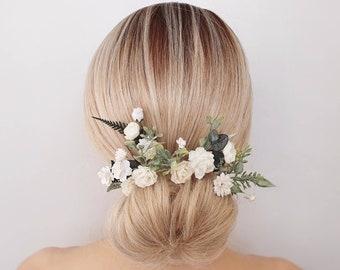 Flower hair pins, Bridal hair flower comb, Wedding hair pieces, Flower hair clip, Bridesmaids for hair, White floral for hair