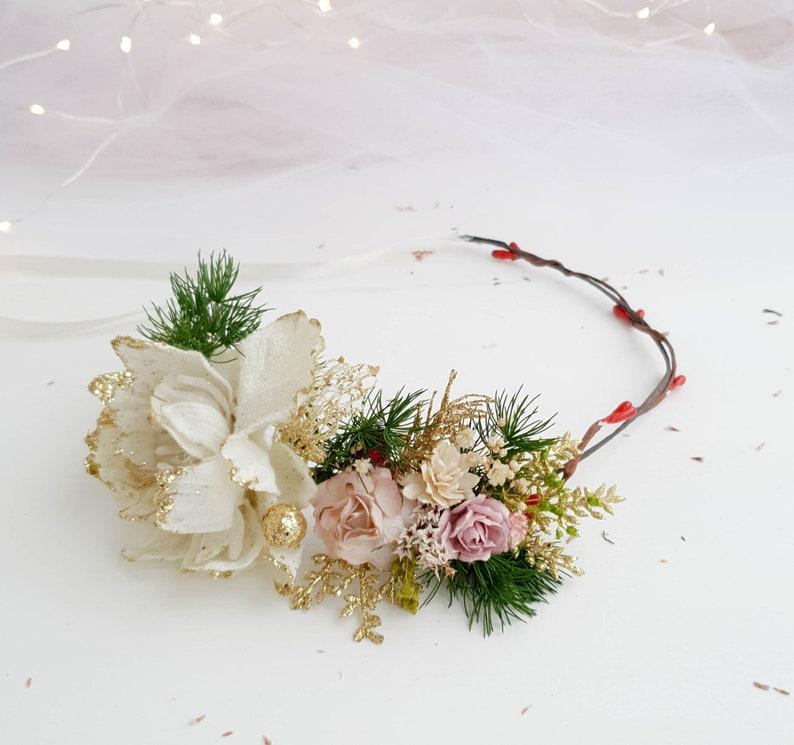 Flower wreath Christmas crown Flower headband Wedding crown Wedding flower headpiece Bridal hair flowers Flower crown Flower headband