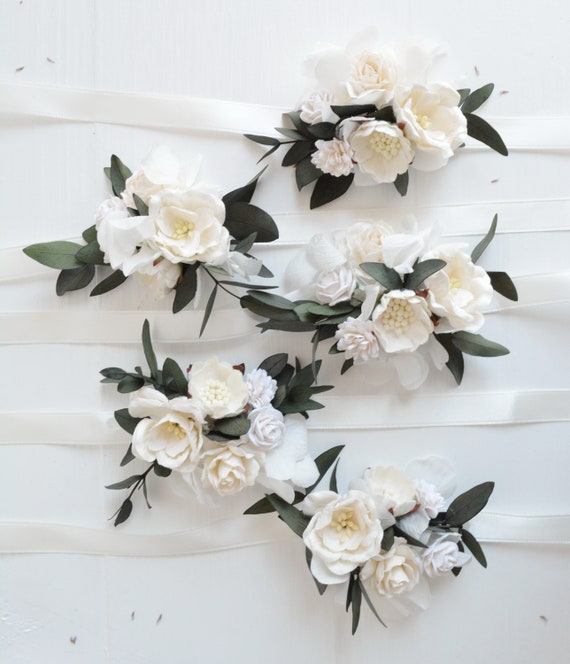 White flower wrist corsage bridesmaids corsage wrist etsy image 0 mightylinksfo