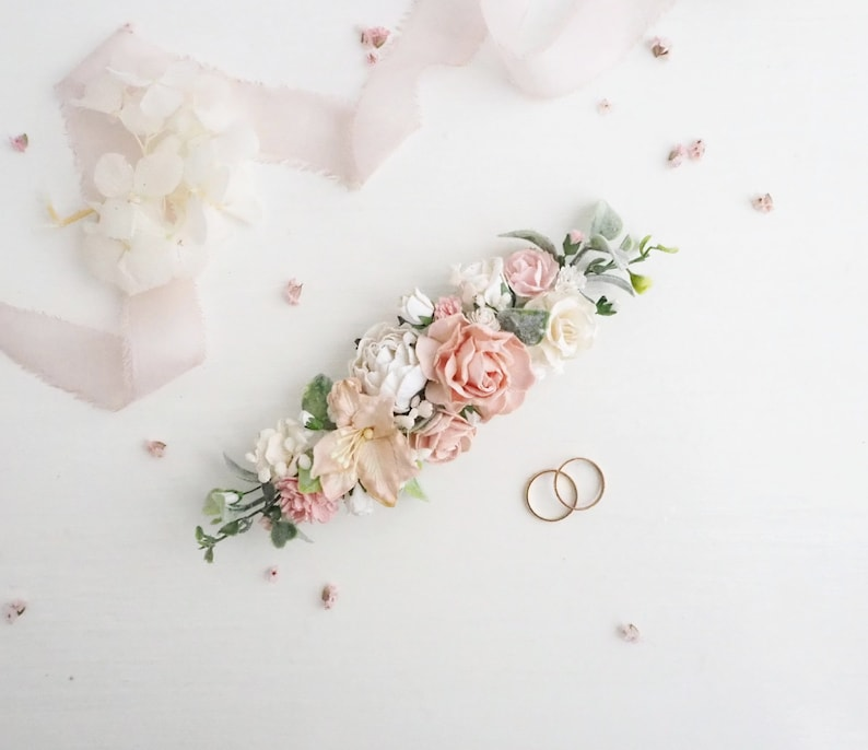 White bridal hair clip Wedding hair piece Blush flower vine Wedding flower vine