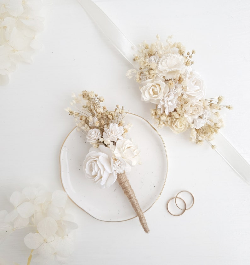 Ivory Button hole Woodland wedding Rustic wedding Fiance Rustic boutonniere Summer Spring wedding Groomsman boutonniere