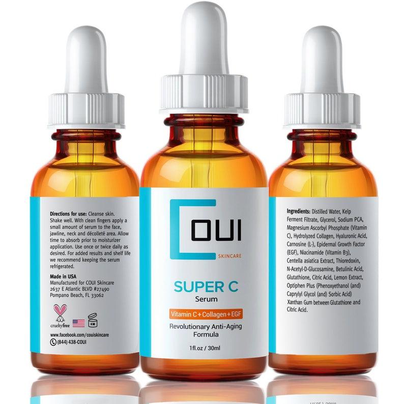 Super Vitamin C Serum - Collagen, Marine Kelp, Hyaluronic Acid, EGF   COUI  skincare