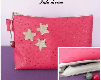 Toiletry bag in Raspberry ostrich leather, waterproof lining, beige star