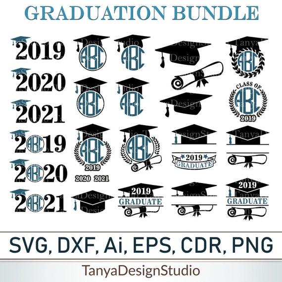Graduation Svg Bundle Graduate Monogram Svg Graduation Cap Etsy
