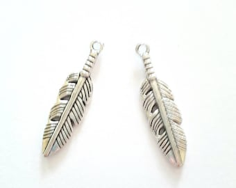 2 antique silver metal feather charms