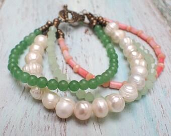 Mothers Day Gift, Spring Bracelet, Gemstones - Pearls Bracelet, Multi Strand Coral Pearl Bracelet Elegant Bracelet by VintageRoseGallery