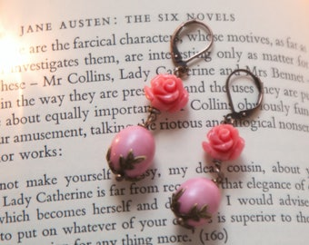 Rose  Spring Earrings , Pink Shabby Chic Earrings,  Romantic earrings, Rose earrings,  Pink earrings,  Vintage Style by VintageRoseGallery .