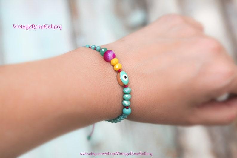 Joyful Summer Bracelet by  VintageRoseGallery Friendship Bracelet Protection Bracelet Greek Evil Eye Bracelet Evil Eye Bracelet