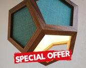Special offer - hanging light - pendant lamp - light blue fabric shades - black pvc cord - walnut wood - spot light - modern chandelier