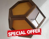 Special offer - hanging light - pendant lamp - yellow fabric shades - yellow textile cord - walnut wood