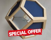 Special offer - hanging light - pendant lamp blue fabric shades blue textile cord ash wood