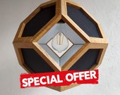 Special offer - hanging light - pendant lamp - black fabric shades - black textile cord - oak wood
