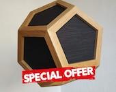 Special offer - hanging light - pendant lamp - black fabric shades - black textile cord - oak wood - spot light - modern chandelier lighting