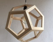 Fir wood - pendant lamp - polyhedron - three-dimensional - olive - wooden light - contemporary lamp - hanging chandelier - light fixture -