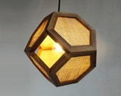 Pendant or table lamp - Jute Truncated Octahedron - hanging dining lamp - bedroom light
