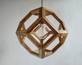 Olive wood Pendant Lamp in Olive wood Truncated Octahedron dining room light kitchen light