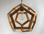 Olive wood - polyhedron - three-dimensional - olive - wooden light - contemporary lamp - hanging chandelier - light fixture -