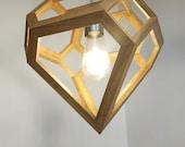 Pendant lamp - Pendant Lamp in Oak - Diamond shaped lamp - hanging light - light fixture - lighting - living room light