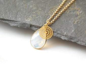 BOHO CRYSTAL necklace glass opalwhite/gold