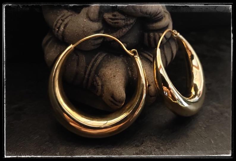 rounded earrings tribal boho style pair hoop earrings ethnic chunky hoops silver-plated brass BIG HOOPS brass brass