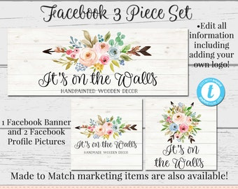 floral facebook set customizable facebook diy facebook etsy