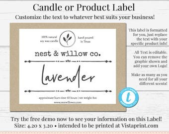 Candle Label Editable Bath Product DIY Ingredient Instant Download Sticker Templett