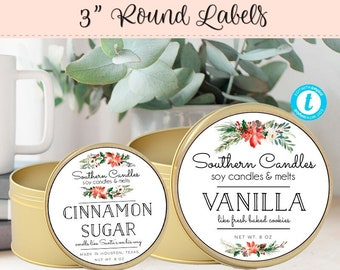 Round Candle Label, Editable Label, 3 Inch Round Label, Product Label, DIY Ingredient Label, Instant Download Sticker, Christmas Label