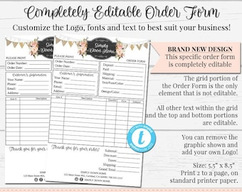 NEW Order Form Customizable Completely Editable Template Custom Rustic Lace