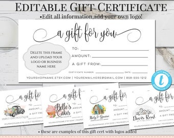 gift certificate printable etsy