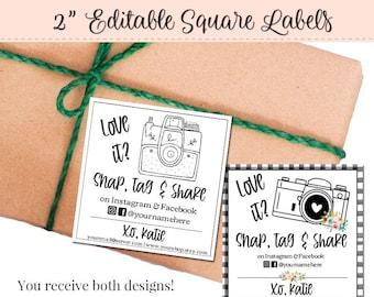 2 x 2 Label, Editable Label, Bath Label, DIY Ingredient Label, Instant Print Sticker, Editable Sticker, 2 Inch Square label, Bathtub
