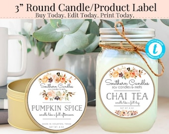Round Candle Label, Editable Label, 3 Inch Round Label, Product Label, DIY Ingredient Label, Instant Download Sticker, Fall Label