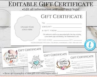 Gift Certificate Template Etsy - Gift certificate template with logo