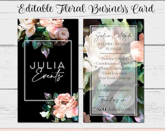 Floral Business Card, Watercolor Card, Business Card Template, DIY Business Card, Instant Download Card, Wedding Planner, Julia Events