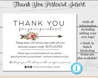 Thank You Postcards Editable Postcards Package Inserts Etsy