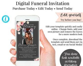 Funeral Electronic Invitation, Digital Invitation, Smartphone Invitation, Memorial Digital Invite, DIY Invitation, Funeral Evite